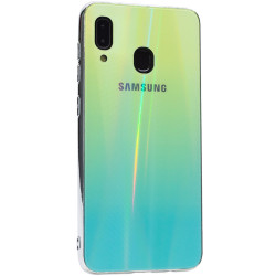 Уценка TPU+Glass чехол Gradient Aurora с лого для Samsung Galaxy A20 / A30