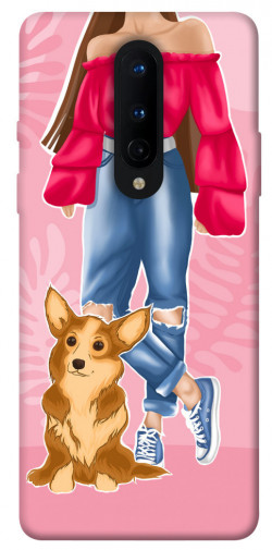 Чехол itsPrint Girl and corgi для OnePlus 8