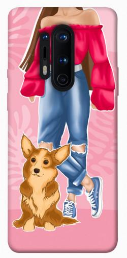 Чехол itsPrint Girl and corgi для OnePlus 8 Pro