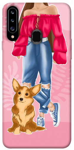 Чехол itsPrint Girl and corgi для Samsung Galaxy A20s
