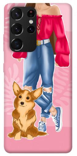 Чехол itsPrint Girl and corgi для Samsung Galaxy S21 Ultra