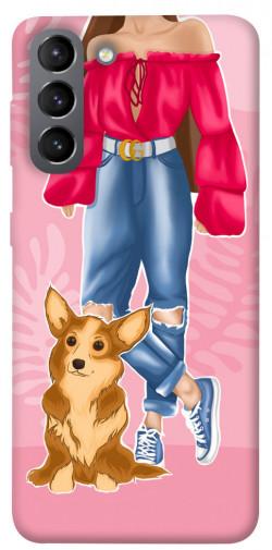Чехол itsPrint Girl and corgi для Samsung Galaxy S21