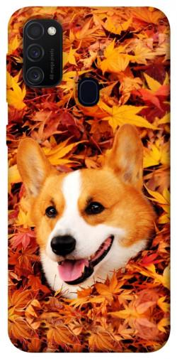 Чехол itsPrint Корги в листьях для Samsung Galaxy M21