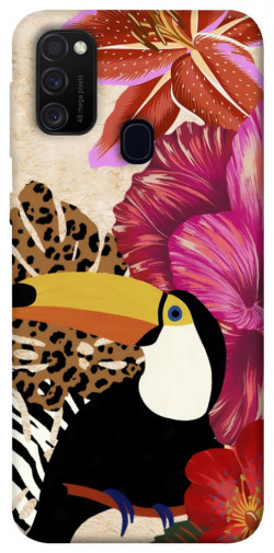 Чехол itsPrint Тукан среди цветов для Samsung Galaxy M21