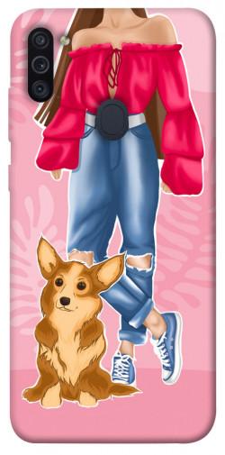Чехол itsPrint Girl and corgi для Samsung Galaxy M11