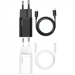 СЗУ Baseus Super Si Quick Charger 1C 25W + Cable Type-C to Type-C 3A (1m)