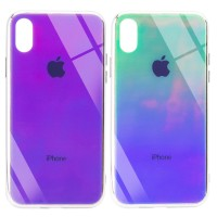"TPU+Glass чехол Gradient Rainbow с лого для Apple iPhone XS Max (6.5"")"