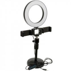 Кольцевая лампа LiveStream 16см с двумя держателями, c подставкой