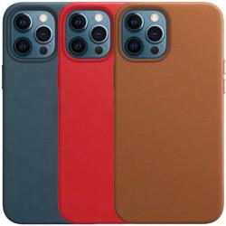 "Кожаный чехол Leather Case (AAA) without Logo для Apple iPhone 12 Pro / 12 (6.1"")"