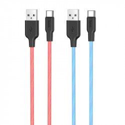 Дата кабель Hoco X21 Plus Fluorescent Silicone Type-C Cable (1m)