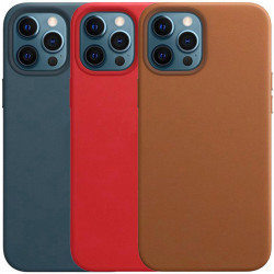 "Кожаный чехол Leather Case (AAA) without Logo для Apple iPhone 12 Pro Max (6.7"")"