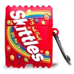 Силиконовый футляр Skittles для наушников AirPods 1/2 + карабин