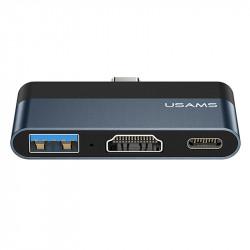 Уценка Переходник HUB Usams US-SJ492 Type-C Mini Hub (USB + HDMI + Type-C)