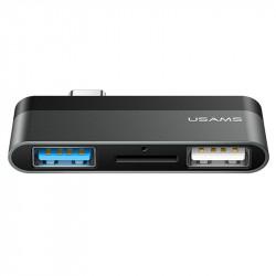 Переходник HUB Usams US-SJ463 Type-C Mini Hub (2USB + Micro SD)