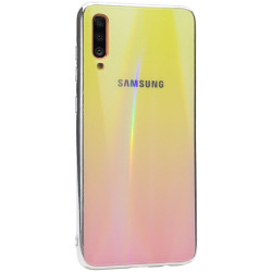 Уценка TPU+Glass чехол Gradient Aurora с лого для Samsung Galaxy A70 (A705F)