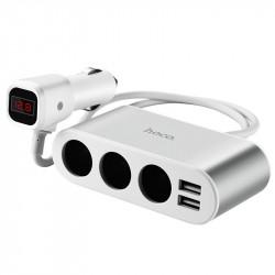 АЗУ с разветвителем прикуривателя Hoco  Z13 (3 порта+2USB/2.1A+LCD)